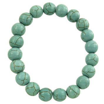 Natural Stone Stretch Bracelet in Turquoise