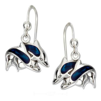 Sterling Silver Jumping Double Dolphin Earrings