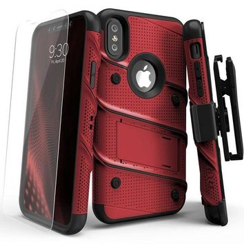 ONETOW iPhone X Case - Zizo [Bolt Series] with Screen Protector, Kickstand [12 ft. Military Grade Drop Tested] Holster Belt Clip (Red/Black)