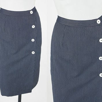 Vintage 90s Skirt / 1990s Navy Blue Pinstripe Asymmetric Wrap Pencil Skirt XS