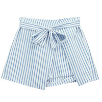 High Waist Belted Striped Skirt Shorts