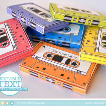 BOGO Sale - Cassette Tape Box - 7 EDITABLE boxes - gift card holder, party favor boxes - Instant Download D.I.Y. Printable PDF Kit