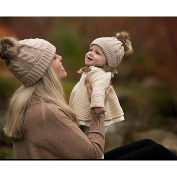 Mommy & Me Beanie Puff Caps  - Khaki Set
