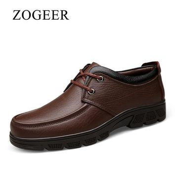 ZOGEER Big Size 38-47 Winter Furry Men Dress Shoes, Classic Business Mens Italy Shoes, Lace Up Formal Oxford Shoes For Man
