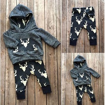 2018 autumn baby Boys clothes cotton long sleeve Deer hoodie coat+pants kids 2pcs suit baby boy clothing sets infant clothing