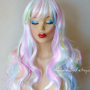 Unicorn Rainbow Pastel Rainbow hair Cosplay wig. white pink, lilac, lavender yellow lime green, sky blue, turquoise and purple color wig.