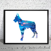 Doberman 3 Watercolor Print, Archival Fine Art Print, Children's Wall, Art Home Decor, dog watercolor, watercolor painting, animal art