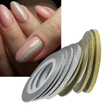 Nail Art Glitter Gold Silver Stripping Tape Line