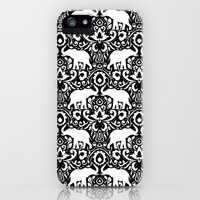 Elephant Damask Black and White iPhone & iPod Case by Jacqueline Maldonado | Society6