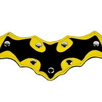 Black Bat on Yellow Leather Wristband Cosplay Batman Bracelet