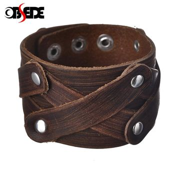 OBSEDE Fashion Charm Men Jewelry Genuine Leather Bracelet Men Vintage Wide Cuff Bracelets & Bangles Punk Clasps Accessory