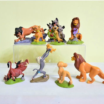 New PVC anime figure toys The Lion King Simba Mufasa Nala Hyenas Timon Pumbaa Sarabi Sarafina Scar 8CM 9pcs set free shipping