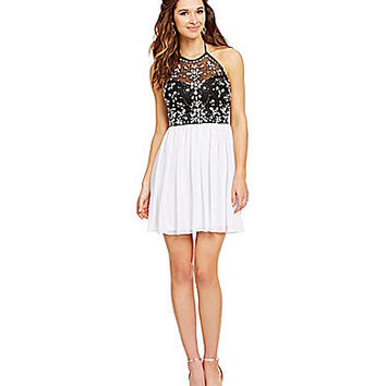 B. Darlin Halter Neckline Illusion Beaded Party Dress - White/Black