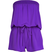River Island Womens Purple bandeau waisted Romper