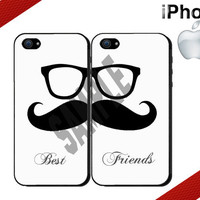 Best Friends iPhone Case - iPhone 4 Case or iPhone 5 Case - Moustache and Glasses - Two Case Set