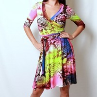 Neon Rainbow Snakeskin Dress