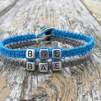 BAE Bracelets for Couples or Best Friends, Grey and Turquoise Handmade Hemp Jewelry, Before Anyone Else