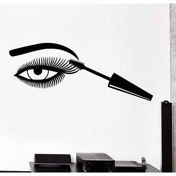 Wall Vinyl Decal Make Up Eye Beauty Hair Salon Fashion Home Interior Decor Unique Gift z4190