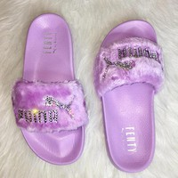 Bedazzled Crystal Fenty By Rihanna Puma Fur Slides In Pastel Purple Limited Edition