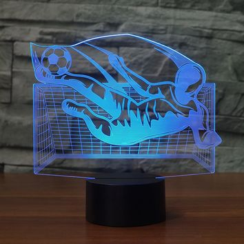 Soccer Flying Kick 3D LED Night Light Lamp