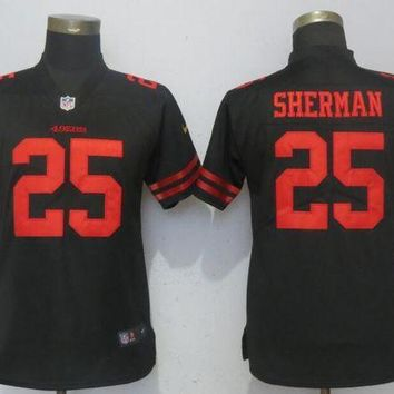 Women Nike San Francisco 49ers 25 Sherman Black 2017 Vapor Untouchable Elite Player