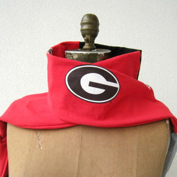 Georgia Bulldogs T Shirt Scarf / Red Black White / Unisex / For Her / For Him / Cotton / Soft / Fun / Handmade / Fashion / ohzie