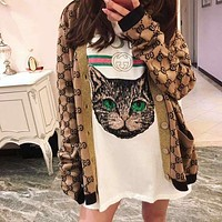 GUCCI Popular Women Retro Gold Wire Crochet Buttons Long Sleeve Knit Cardigan Jacket Coat I/A