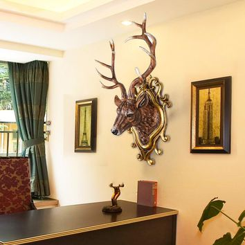 The European deer living room wall decoration wall hanging pendant hanging bar retro animal head ornaments