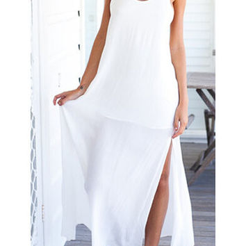 White Lace Crochet Side Split Maxi Dress