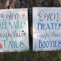 "Joyful Island Creations ""Even Mermaids Wash Their Tails"" and ""Even Pirates Wash Their Booties"" Wood Signs/ Kid bathroom Signs/ Bathroom Sign"