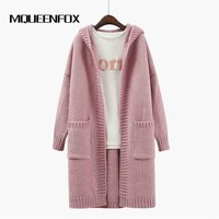 2017 New Winter Women Long Sleeve Big Sweater Large Long Cardigans Sweaters Women Hooded Knitted Coat