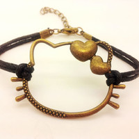 Antique Bronze Hello Kitty Black Rope Bracelet women ropes bracelet 1484A