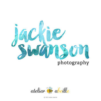 Premade watercolor logo web logo design Etsy shop logo website logo text only logo design photographer logo typographic logo artist logo