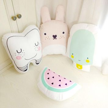 Lovely Creative Cartoon Totoro Tooth Watermelon Ice Cream Cushion Pillow Calm Sleep Toys Stuffed Plush Dolls Gifts For Kids Baby