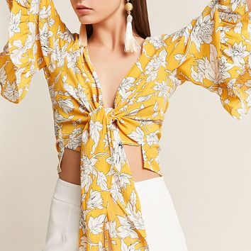 Floral Self-Tie Bell-Sleeve Top