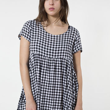 Gingham Printed Rayon Babydoll Dress | American Apparel
