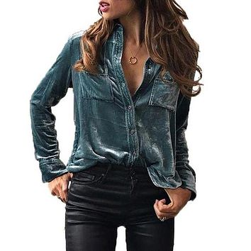 Women Blouse Turn Down Collar Shirt Long Sleeve Velvet Blusas Shirt Femininas Button Blue Top