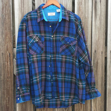 Vintage Men's Blue Flannel Shirt - Royal Blue Plaid - Cobalt Blue - SZ XXL