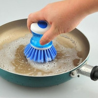Kitchen Pot Brush Cleaner automatically push stick oil pan brush convenient cleaning brush = 1645686532
