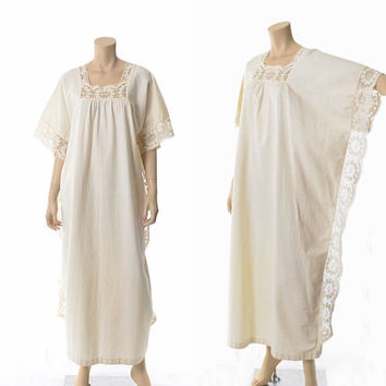 Vintage 70s Crochet Lace Maxi Caftan Dress 1970s Ivory Hippie Dress Festival Boho Cocoon Kaftan Dress Woodstock / One Size
