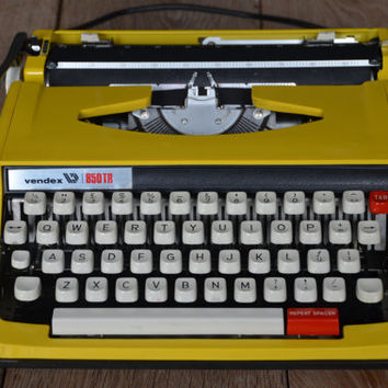 Vintage Typewriter - 1980's Bright yellow Vendex 850TR typewriter - Working Perfectly