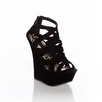 Urban Drama Strappy Wedge in Black