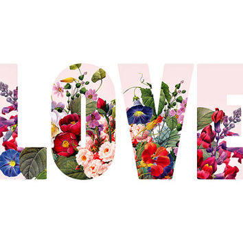 Love, Floral Typography - 8x10 Print, Ready to Ship - Valentines Day Art, Flowers, Love Font, Minimalist, Simple, Nursery Decor, Girls Room