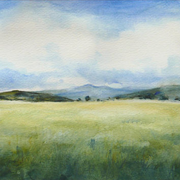 "Grassy Field Watercolor Painting, Landscape, Small Watercolor, Original Aquarelle, 11,7"" x 8,3""  Small Painting Field by Dorota Polland"