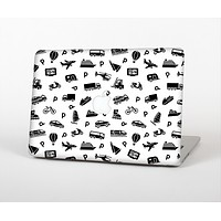The Black and White Travel Collage Pattern Skin for the Apple MacBook Air 13""