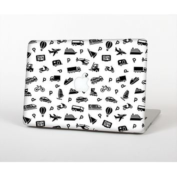 The Black and White Travel Collage Pattern Skin Set for the Apple MacBook Air 11""