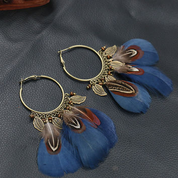 Vintage Feather Earrings For Women Pendant Indian Jewelry Pendientes Ethnic Round Hanging Earring bijoux brincos HQEF-106