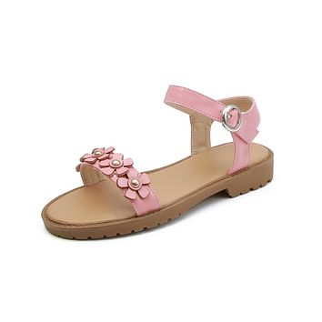Flowers Buckle Flat Sandals for Women 7204