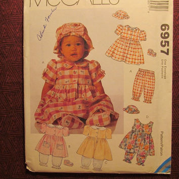 SALE Uncut McCall's Sewing Pattern, 6957! Infant/Toddler/Baby/Flared Dresses/Pantaloons/Hats/Shoes/booties/Fashion Accessories/Summer/Spring