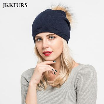 Winter Women Real Raccoon Fur Ball Pompom Beanies Caps High Quality Cashmere Beret Fashion Hats S7155